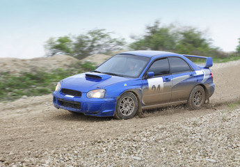 Blue rally car