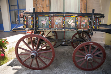 ANtique Traditional Painted Carriage at Sami ,Kephalonia Greece