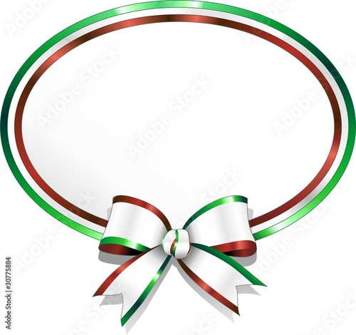Italia Coccarda Stemma con Fiocco-Italy Badge and Bow-Vector