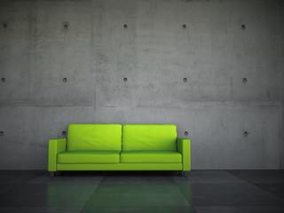 Sofa Rendering grün vor Betonwand