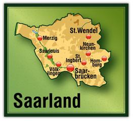 Saarland Höhenschichten als Vektoren
