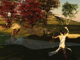 Huntress and deer