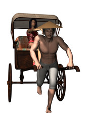 Man pulling rickshaw with passenger