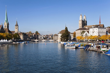 Limmat river and city on a sunny day at Zurich - Switzerland