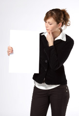 Business woman holding a blank paper, isolated