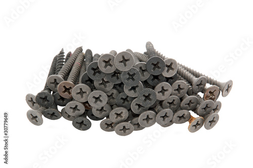 Dirty screw for plasterboard, isolated on white background