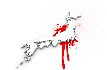 Map of Japan bleeding. Japan earthquake disaster in 2011.