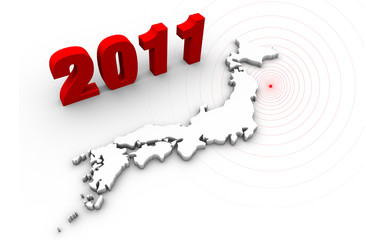 2011 text with Japan map. Japan earthquake disaster in 2011.