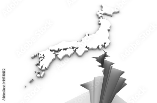 Crack mark with Japan map. Japan earthquake disaster in 2011.