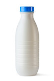 Plastic bottle with blue lid for dairy foods