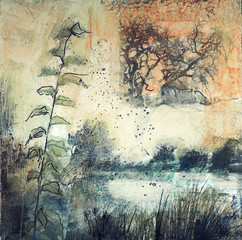 Mixed media painting of  reeds along a river
