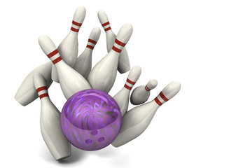 Bowling Ball Hitting Pins for a Strike