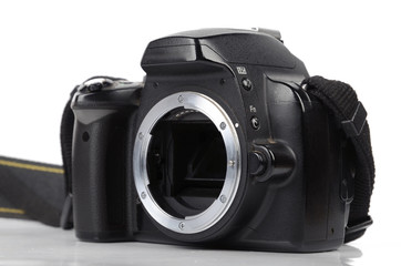 Black digital SLR camera
