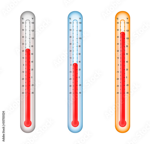 Leinwandbild Motiv thermometers with medium, cold, and hot temperatures