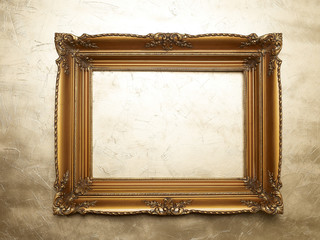 Old Picture Frame On Gold Wall