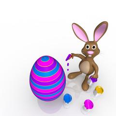 easter bunny paints easter egg