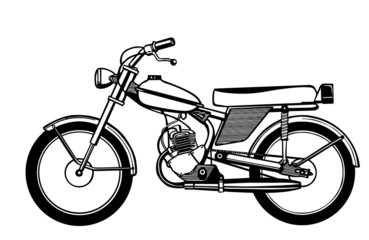 silhouette moped on white background