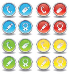 Button Set - Telefon, Computermaus, Stift, Abzeichen - bunt