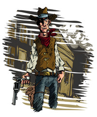 Cowboy gunslinger draws his six shooter