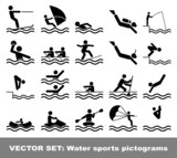Vector set water sports pictograms
