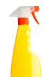 Yellow transparent spray bottle on white background