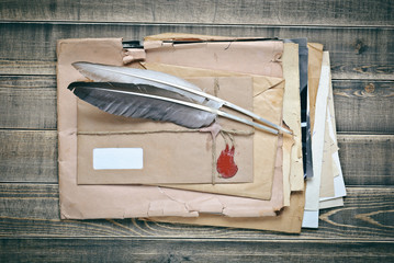 Vintage Envelopes with papers and quill pens
