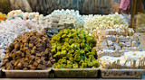 Colorful display of turkish delights in Egyptian Spice Bazaar