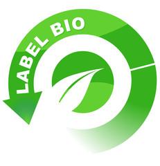label bio sur vignette fléchée verte