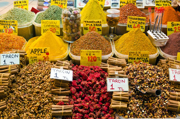 Colorful display of spices in Egyptian Spice Bazaar