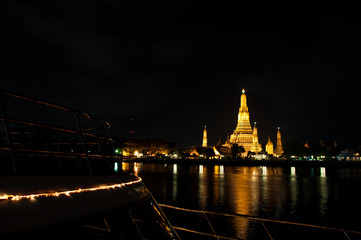 Wat Arun Temple night  in thailand