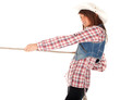 country girl in chequered shirt and bright hat with lasso