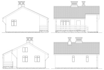 Four Facade Of Small House Vector 01