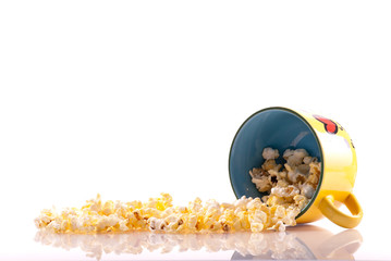 Popcorn Spilled on Glass Background Concept with Custom Space