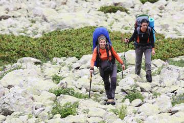 Hiker tecking in Caucasus mountains