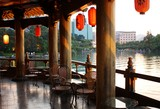 Chinese cafe at the lake in the evening, Guiling, China