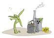 Windrad gegen Atomkraftwerk, Illustration