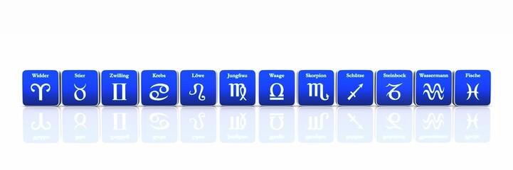 Sternzeichen in Reihe Blau auf Weiß 01