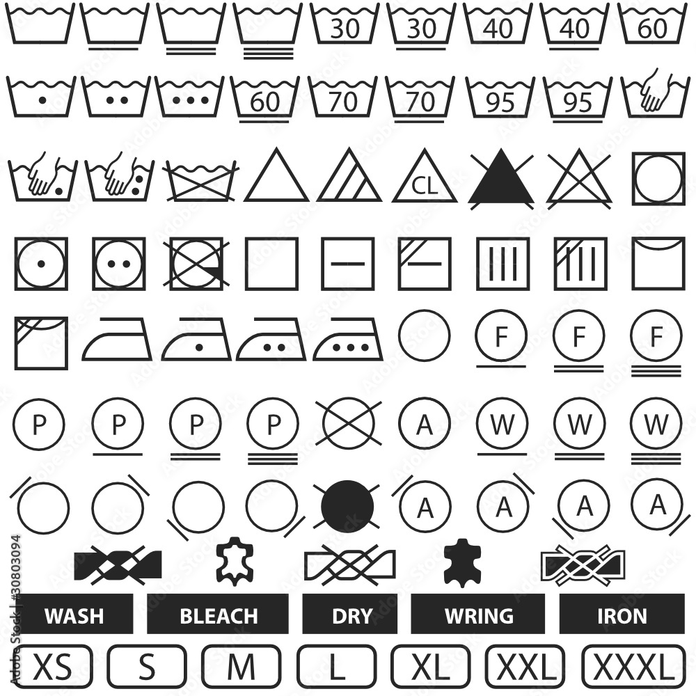 Sticker h s code - Wash Symbols Wall Sticker Wall Stickers