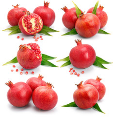 Set os pomegranate fruits with green leaf and cuts isolated