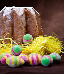 Easter theme with cake and colorful eggs
