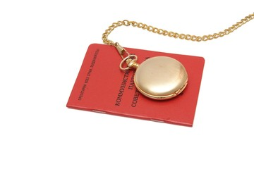 Soviet communist party card and pocket watch on chain