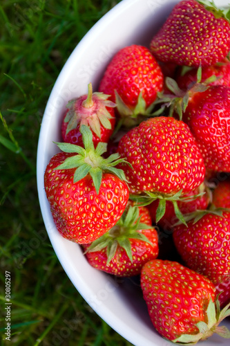 Strawberrys in white bowl on grass