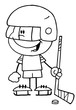 Black And White Outline Of A Little Boy Playing A Hockey Goalie