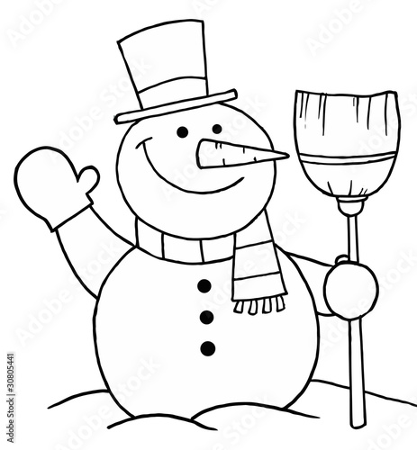 Black And White Coloring Page Outline Of A Snowman With A Broom by ...