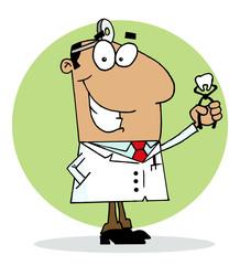 Hispanic Cartoon Dentist Man Holding A Pulled Tooth