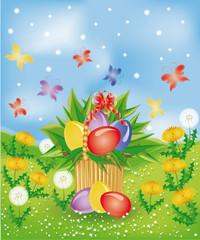Easter basket , vector illustration