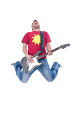 Awesome guitar player jumps