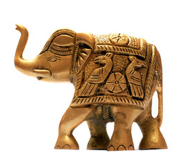 Decorative golden elephant isolated over white