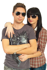 Models couple with sunglasses