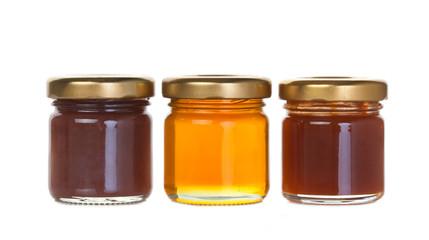 Vasetti di marmellata, composta e miele